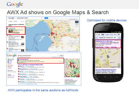 AWX Ad shows on Google Maps