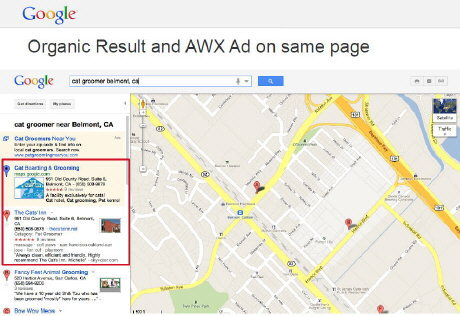 Organic result and AWX Ad on same page